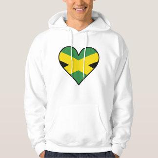 Corazón jamaicano de la bandera sudadera