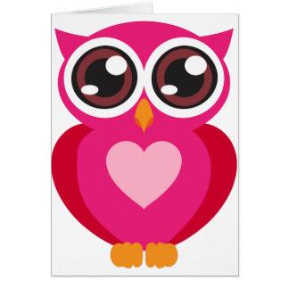 Corazón lindo del búho tarjeta de felicitación