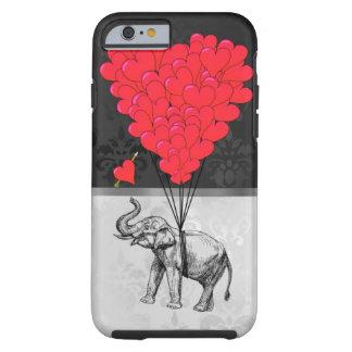 Corazón lindo del elefante y del amor en gris funda para iPhone 6 tough