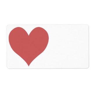 Corazón lindo del rojo indio etiquetas de envío
