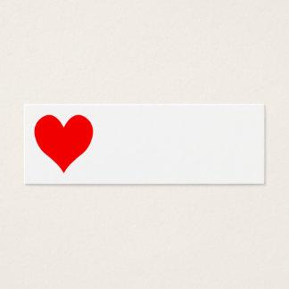 Corazón lindo rojo brillante sólido tarjeta de visita mini