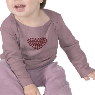 Corazón llenado diamante artificial impreso camisetas