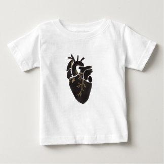Corazón negro camiseta de bebé