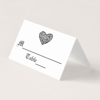 Corazón negro de w/White Swirly - tarjeta del