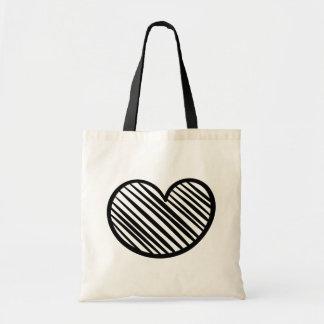 Corazón negro del garabato - boda/ducha nupcial bolso de tela