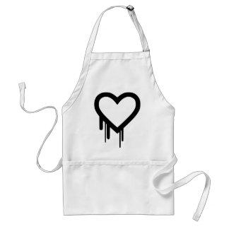 Corazón negro del goteo de Heartbleed Delantal