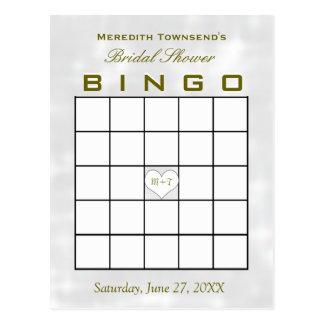 Corazón nupcial del monograma del bingo de la postal