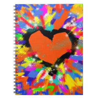 corazón, paz y amor coloridos libro de apuntes con espiral