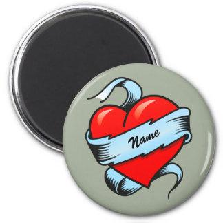 Corazón personalizado del tatuaje imán redondo 5 cm