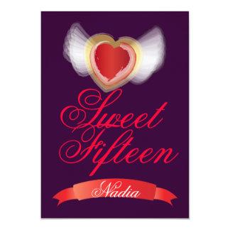 Corazón-Personalizar con alas del dulce quince Invitación 12,7 X 17,8 Cm