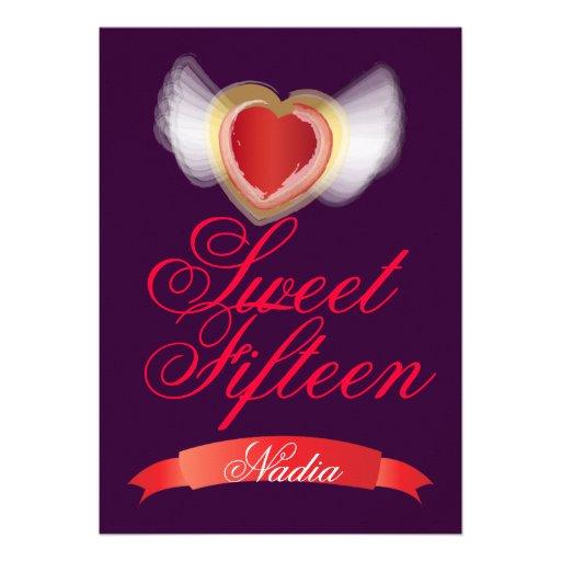 Corazón-Personalizar con alas del dulce quince Invitaciones Personales