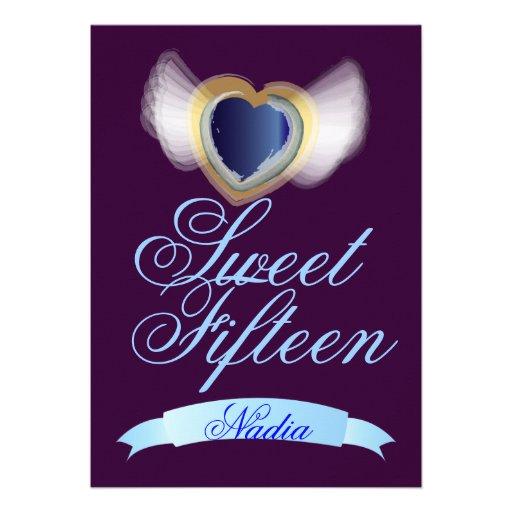 Corazón-Personalizar con alas del dulce quince Anuncio Personalizado