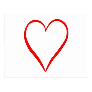 Corazón pintado en fondo blanco postal