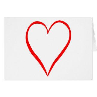 Corazón pintado en fondo blanco tarjeta