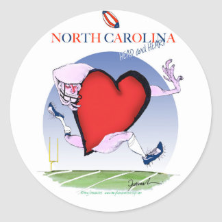 corazón principal de Carolina del Norte, fernandes Pegatina Redonda