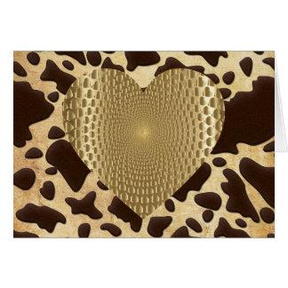 Corazón prismático de oro del estampado de tarjeta pequeña