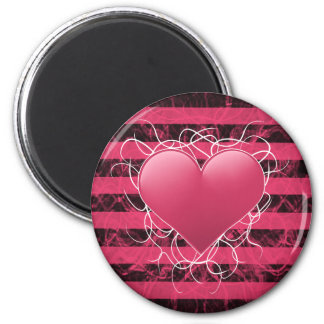 Corazón punky gótico del rosa del emo con las raya imanes para frigoríficos