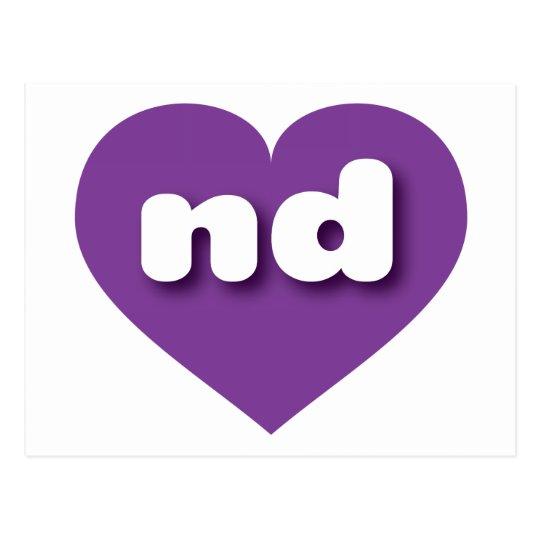 Corazón púrpura de Dakota del Norte - mini amor Postal