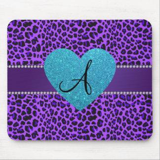 Corazón púrpura de la turquesa del leopardo del alfombrilla de ratón