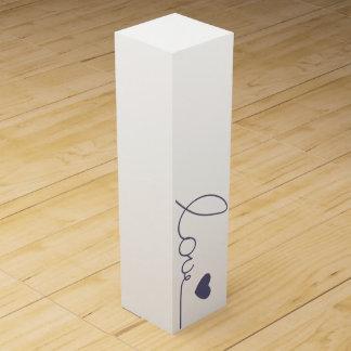 Corazón púrpura del amor caja para vino