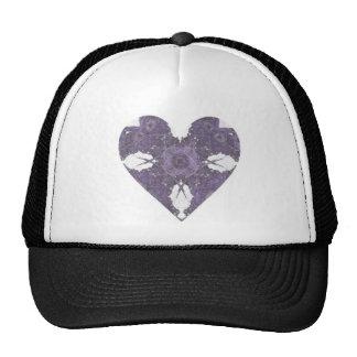 Corazón púrpura del arte del fractal de la mirada  gorra