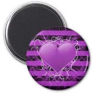 Corazón púrpura del emo punky gótico con las rayas iman de nevera