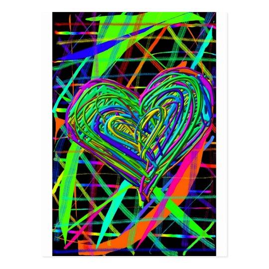 Corazón que brilla intensamente postal
