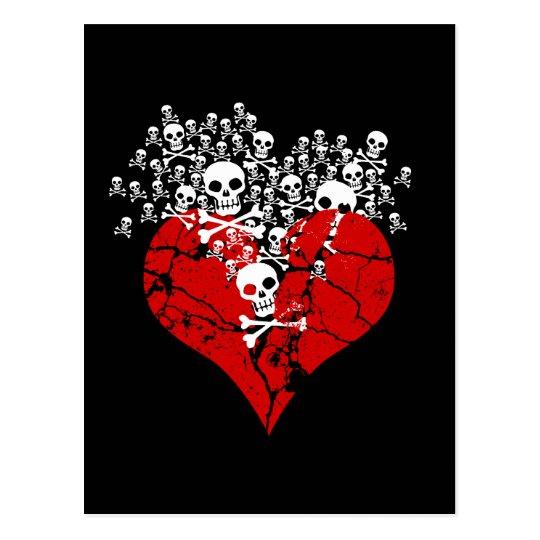 Corazón quebrado con los cráneos postal