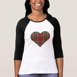 Corazón real cosido del tartán de Stewart Camiseta