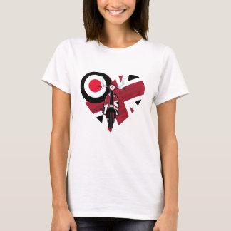 Corazón retro de la vespa de la MOD Camiseta