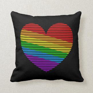 Corazón retro del amor del arco iris del vintage d cojin