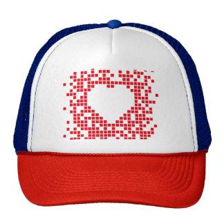 Corazón retro rojo del arte del pixel gorros bordados