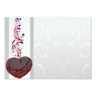 Corazón rojizo lindo del amor invitación 12,7 x 17,8 cm