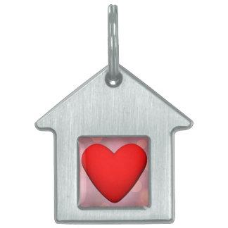 Corazón rojo - 3D rinden Placa Para Mascotas