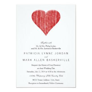 Corazón rojo apenado invitación 12,7 x 17,8 cm
