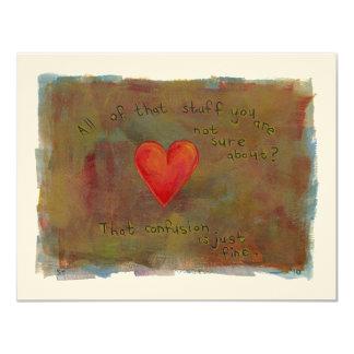 Corazón rojo - arte moderno de vida de la emoción invitación 10,8 x 13,9 cm
