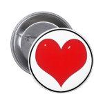 Corazón rojo brillante (añada su texto) pin