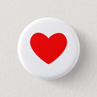 Corazón rojo chapa redonda de 2,5 cm
