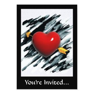 Corazón rojo con la pintura del fondo de la invitación 12,7 x 17,8 cm