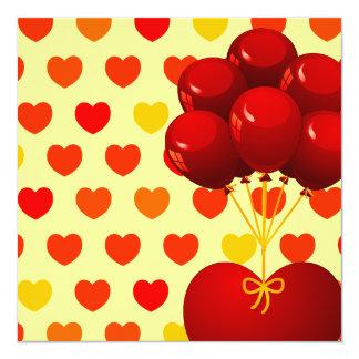 Corazón rojo con los globos, invitación invitación 13,3 cm x 13,3cm