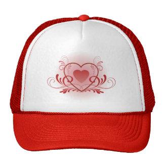 Corazón rojo de lujo gorras