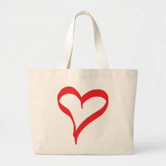 Corazón rojo del amor - boda, ducha nupcial bolsa de tela grande