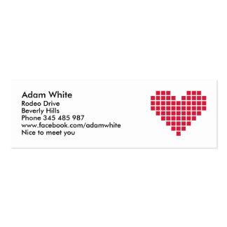 Corazón rojo del pixel tarjetas de visita