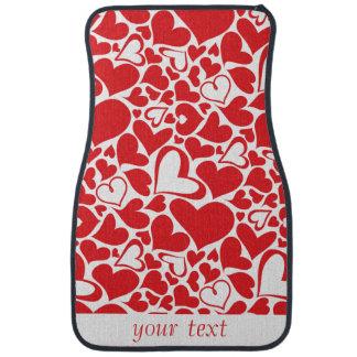 Corazón rojo del tema de la tarjeta del día de San Alfombrilla De Coche