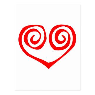 Corazón rojo espiral doble postal