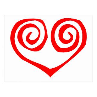 Corazón rojo espiral doble tarjetas postales