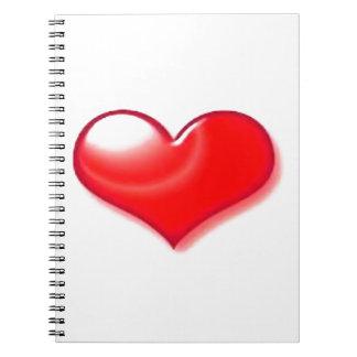 Corazón rojo libreta espiral