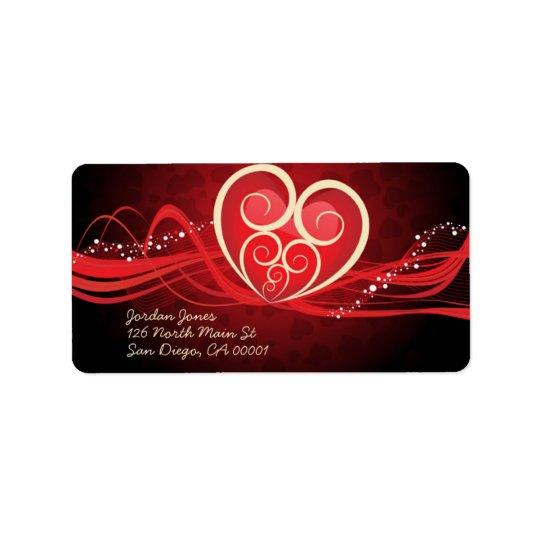 Corazón rojo llamativo etiqueta de dirección
