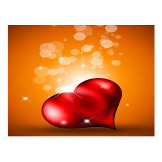 Corazón rojo precioso postal