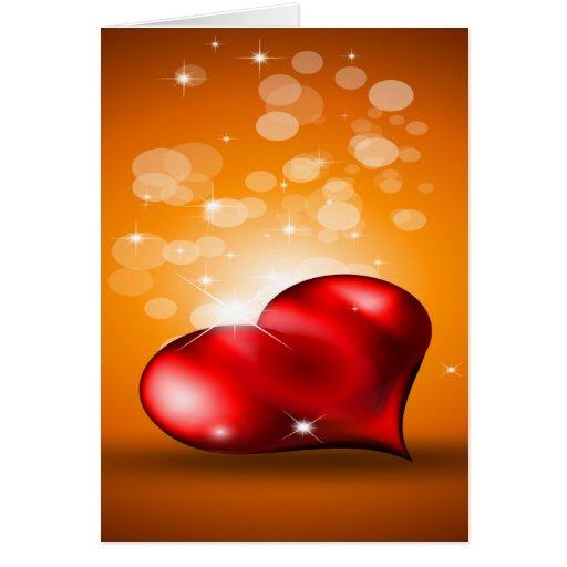 Corazón rojo precioso felicitación